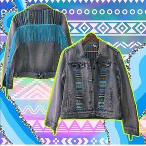 Jackets & Blazers - Blue Aztec fringe denim jean jacket